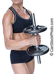 Shirtless bodybuilder drinking spor