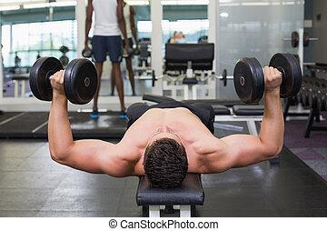 Shirtless bodybuilder lying on bench lifting heavy dumbbells