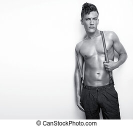 shirtless, człowiek, sexy