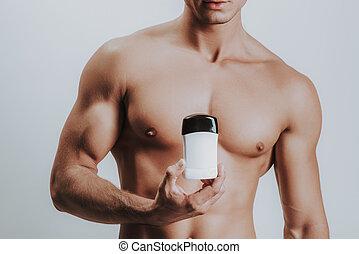 shirtless, deodorante, muscolare, attraente, dimostrare, uomo nuovo