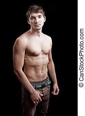 shirtless, ember, noha, egészséges, szexi, test