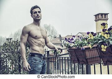 shirtless, esterno, giovane, bello, uomo