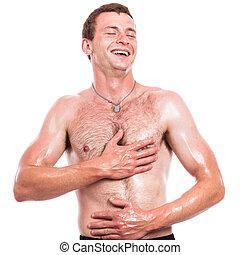 shirtless, felice, uomo