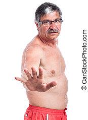 shirtless, fermata, uomo senior