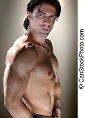 shirtless, fondo, neutrale, muscolare, uomo