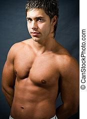shirtless, gespierd, man