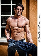 shirtless, giovane, muscolare, attraente, fuori, uomo