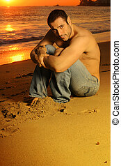 Shirtless good looking man - Casual shirtless good looking...