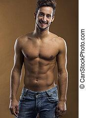 shirtless, hím, mosolygós