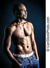 shirtless - Handsome muscular african american man. Over...