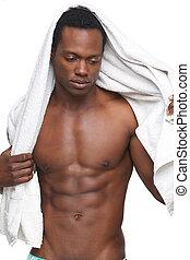 shirtless, homem americano africano, com, toalha