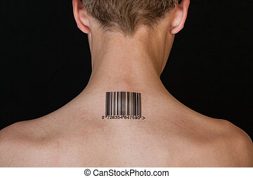 Shirtless individual stamped with bar code on neck
