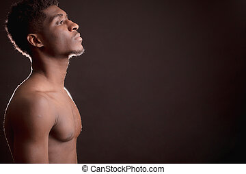 shirtless, isolato, indietro, americano, fondo, africano, barba, uomo