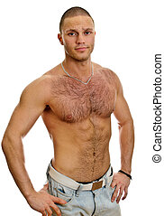 shirtless, isolato, jeans, attraente, maschio bianco