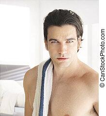 shirtless, jonge man
