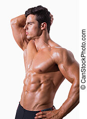 shirtless, jovem, muscular, homem