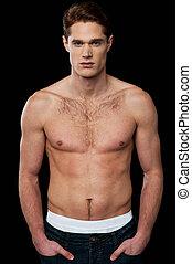 shirtless, joven, masculino, hombre