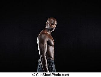 shirtless, joven, posar, masculino, africano, modelo, macho