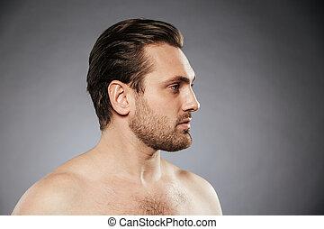 shirtless, lato, dall'aspetto, ritratto, sexy, vista, lontano, uomo