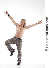 shirtless male dancing