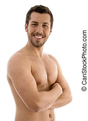 shirtless male with folded hands