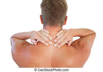 Shirtless man having a neck ache