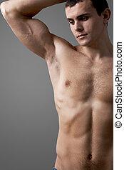 Shirtless man - Image of handsome man with bare torso posing...