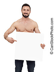 Shirtless man pointing to a blank sign