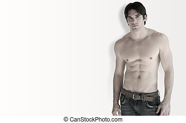 Shirtless man - Full body portrait of young shirtless...