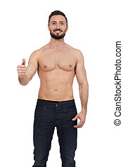 Shirtless man isolated on white