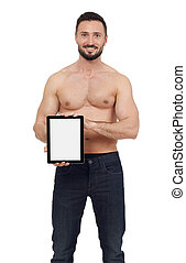 Shirtless man with digital tablet