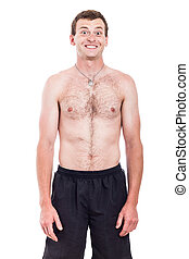 Shirtless man with toothy smile