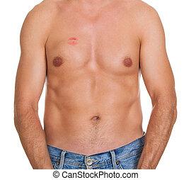 shirtless, mann, mit, lippenstift mark