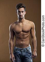 shirtless, maschio, modello, bello