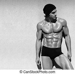 shirtless, maschio, modello