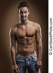 shirtless, maschio, sorridente