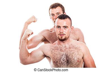 Shirtless men show biceps