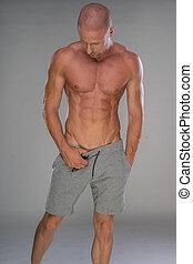 shirtless, mooi, gespierd, man