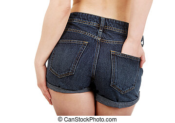 shirtless, mulher, calças brim, shorts.