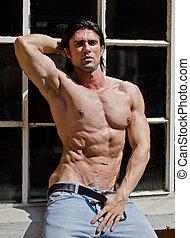 shirtless, muscleman, atractivo, aire libre