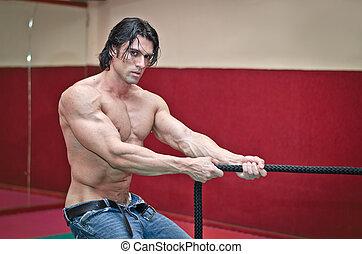 shirtless, muscolare, corda, tirare, bello, uomo