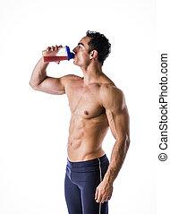 shirtless, muscolare, culturista, scuotere, proteina, maschio, bere, frullatore