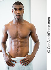 shirtless, muscolare, ritratto, serio, palestra, uomo