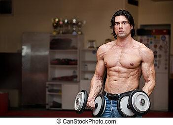 shirtless, muscolare, (two, pesi, presa a terra, dumbbells), uomo