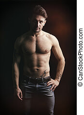 shirtless, muscular, experiência escura, bonito, homem