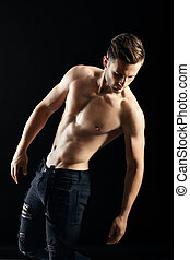 shirtless, muscular, experiência escura, retrato, excitado, homem