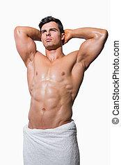shirtless, muscular, hombre, envuelto, en, toalla blanca