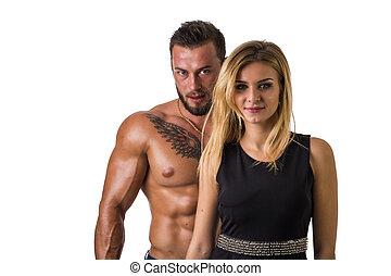 shirtless, muscular, loiro, homem, ajustar, mulher, bonito