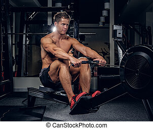 Shirtless muscular male  in a gym club.
