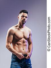 shirtless, muscular, posar, retrato, excitado, homem